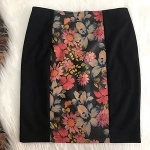 Minkpink Floral (Faux?) Leather Panel Pencil Skirt
